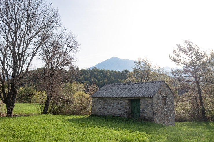 A beautiful stone house in the French pyrenees countryside.