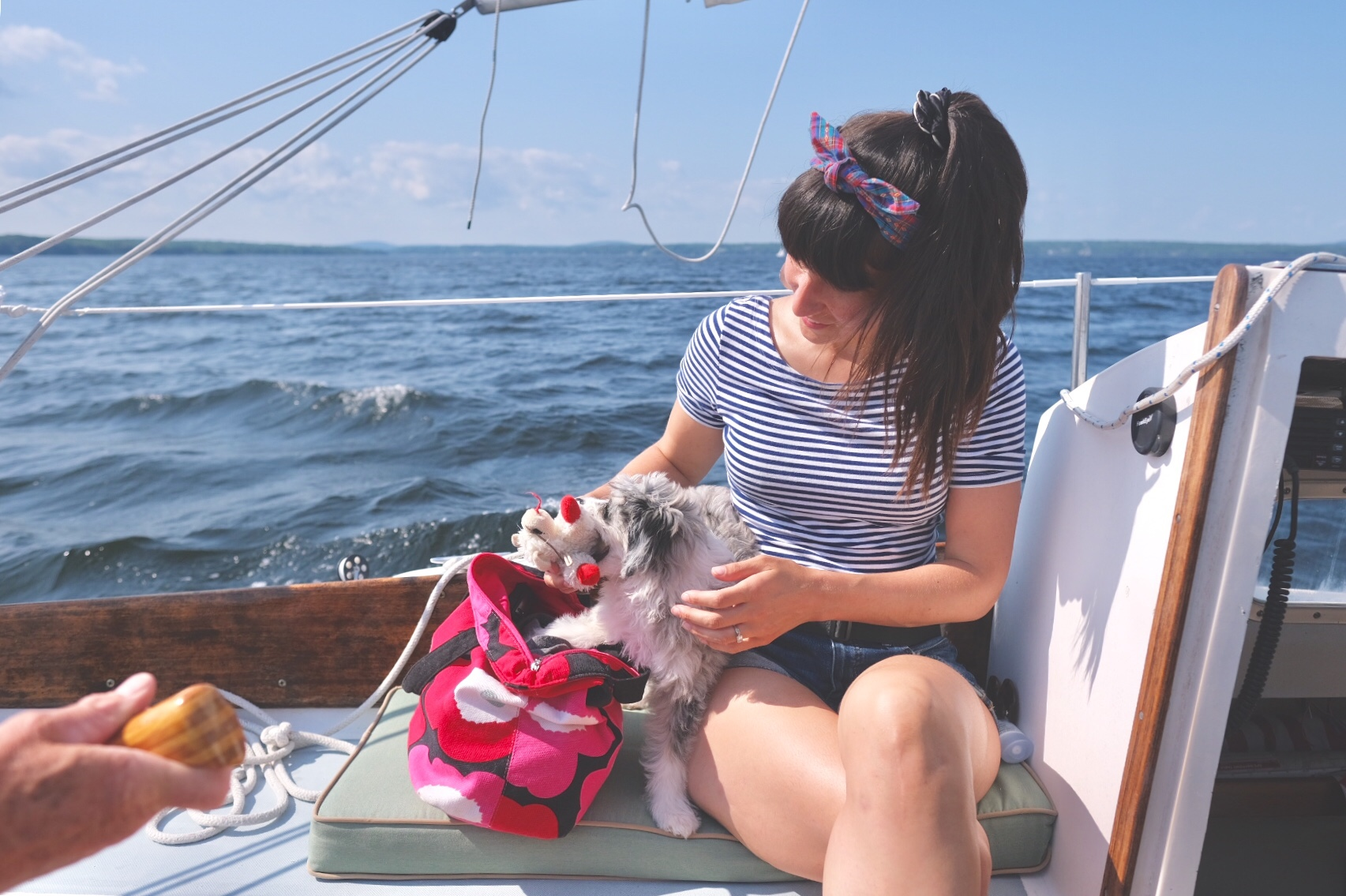 woman on a sailboat wearing headband AussieDoodle puppy rummaging through toy bag.