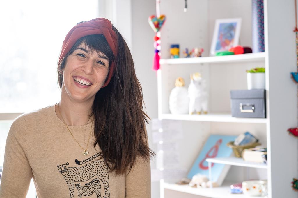 Woman wearing fleece ear warmer for Kickstarter Campaign.