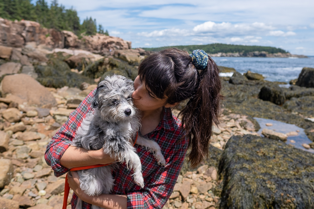Woman and puppy at Acadia National Park